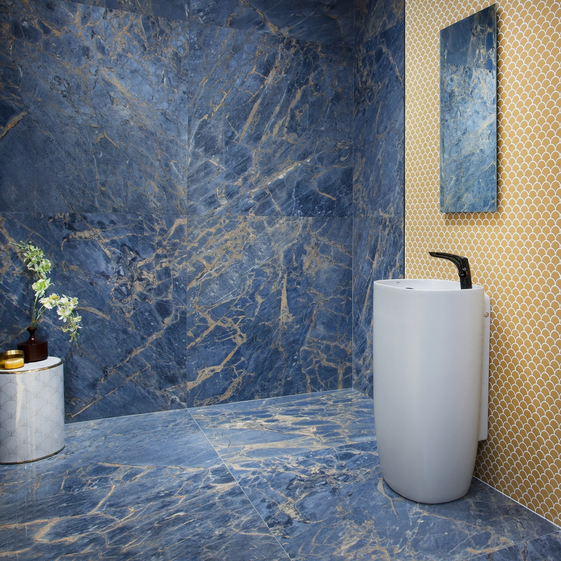 Tile of Spain Trends - Rocking the Blues - Marble Nouveau by Roca