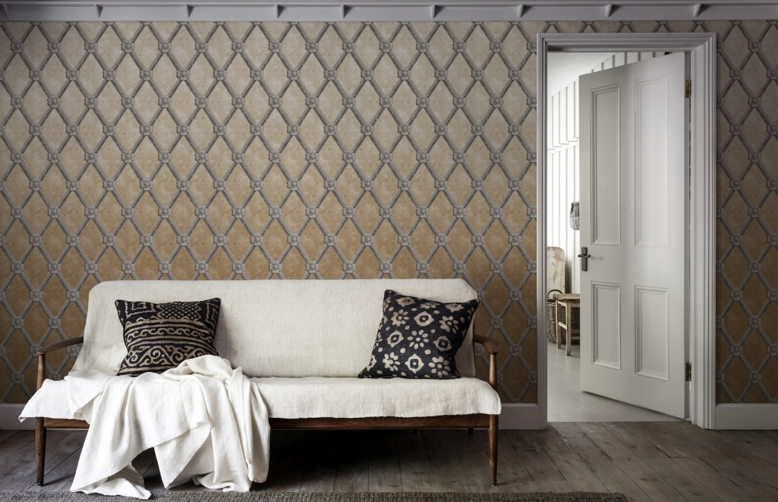 Uppark Trellis Limestone Wallpaper Mural from the V&A Collection at Surface View Wallpaper Murals