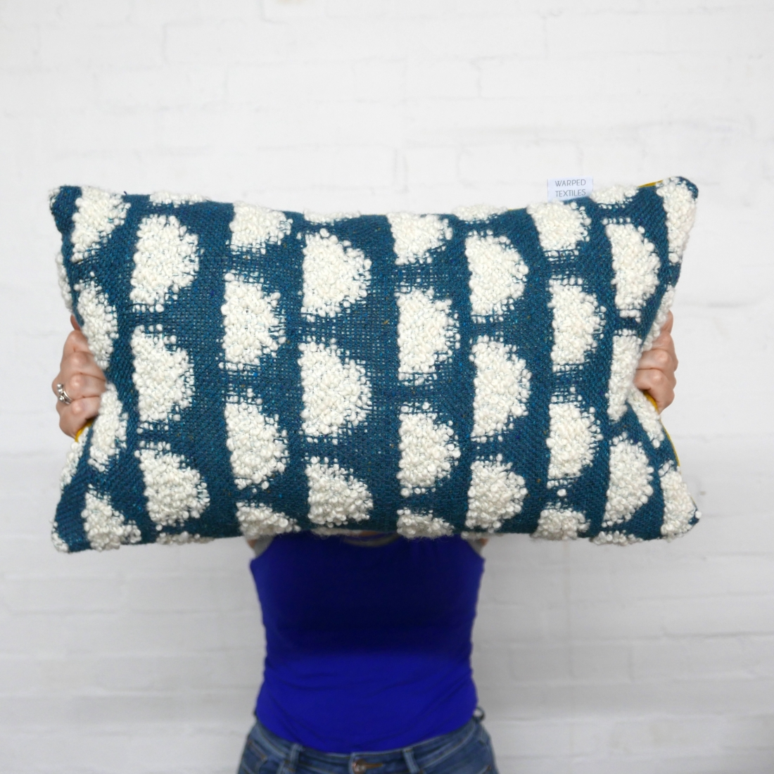 Handwoven Half Moon cushions, woven with a mixture of textural mohair loop yarn & lambswool and backed with 100% wool felt (Photographer: Mike Allen)