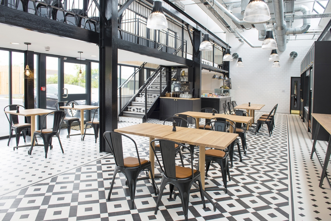 Industrial style at Tool & Gauge, using Karndean Heritage Collection Flooring.