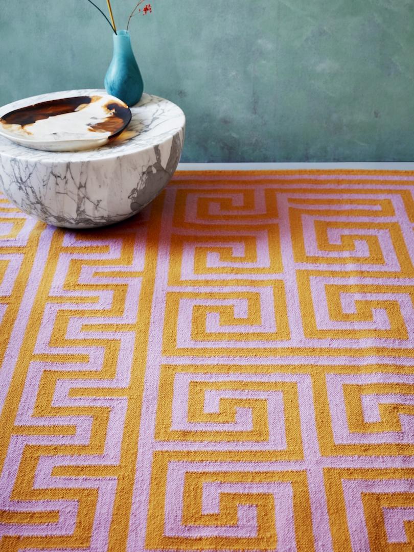 Adam Nathaniel Furman x FLOOR_STORY, Meandros Orange hand woven rug in New Zealand wool.