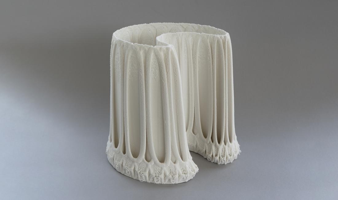 Nico Conti - Of Lace and Porcelain, Crescent, 3D printed porcelain, 23x23x22cm, 2021