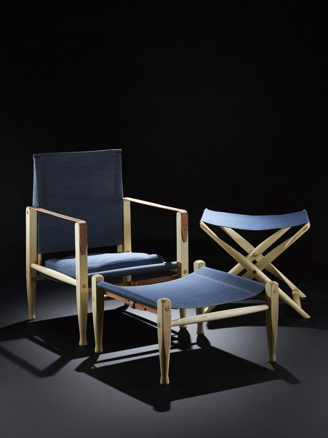 Kaare Klint Propeller Stool, Safari Chair & Footstool