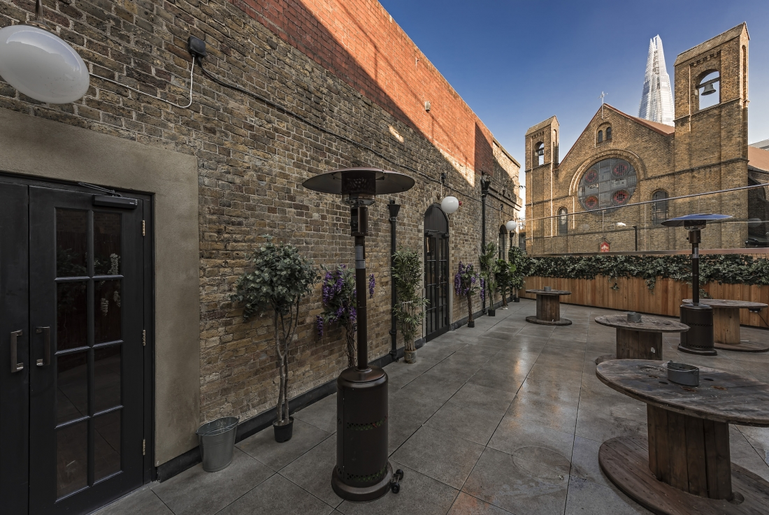 The roof terrace at Omeara, for client Ben Lovetto of Mumford & Sons