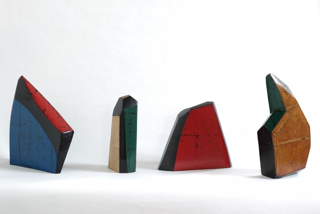 Natsuki Kurimoto urushi lacquer, styrofoam, Japanese paper - Exhibited by ESH Gallery