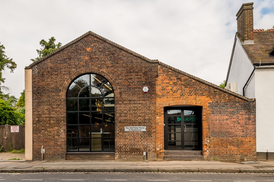 Sustainability and adaptive re-use are key, as in this refurbished pump house building, now a co-working space for bubbleHUB