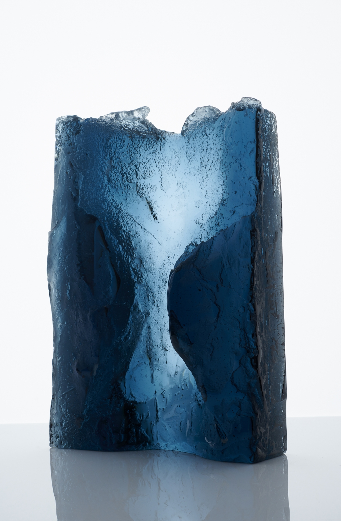Joseph Harrington, Cascade, W 33 x H 46 x D 12cm, Cast Glass, Lost Ice Process with salt erosion, 2018 - Joanna Bird Contemporary Collections
