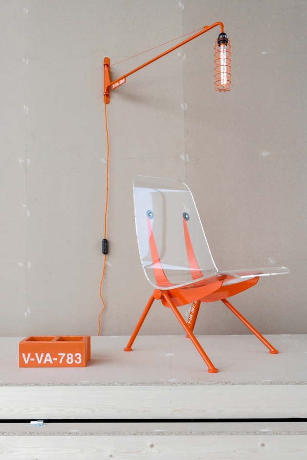 Virgil Abloh x Vitra, Petite Potence, Antony Chair and Ceramic Block. Photography: Joshua Osborne