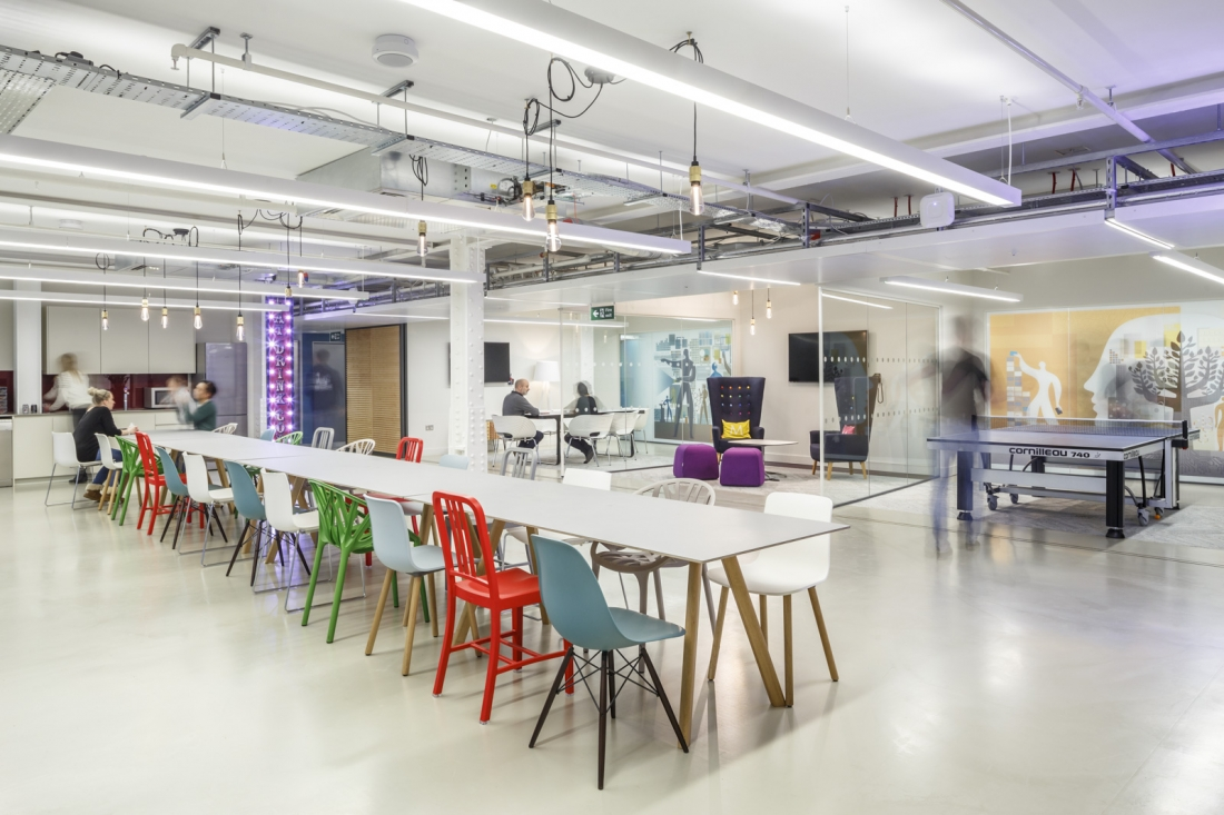 Hospitality spaces within workspace, such as this canteen area for Mendeley in the Alphabeta building in the City