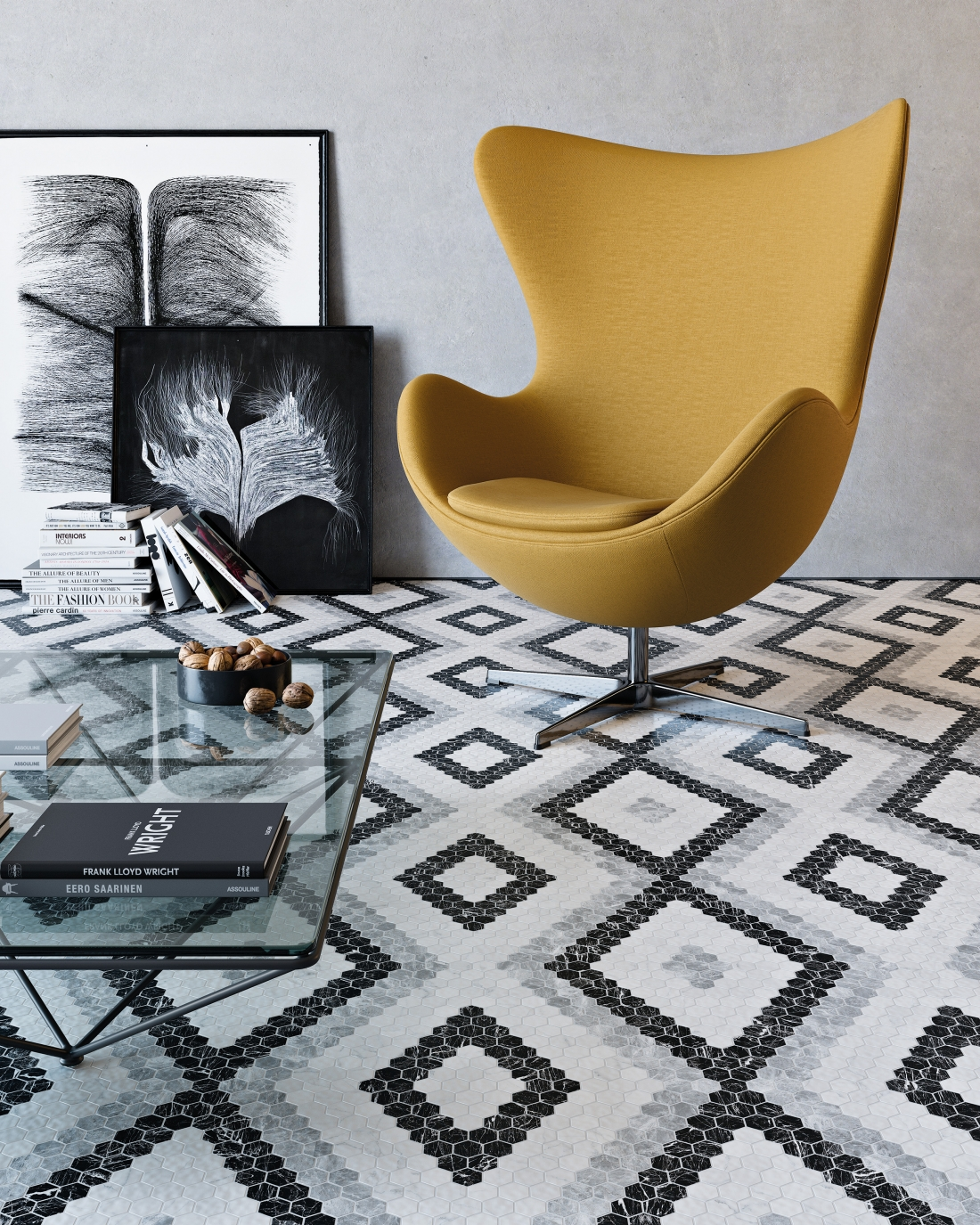 Tile of Spain Trends - Monochrome Mix - Hex pattern 11 by Onix