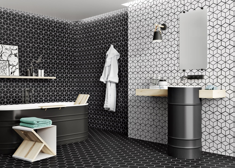 Tile of Spain Trends - Monochrome Mix - Rhombus and Hex by Realonda