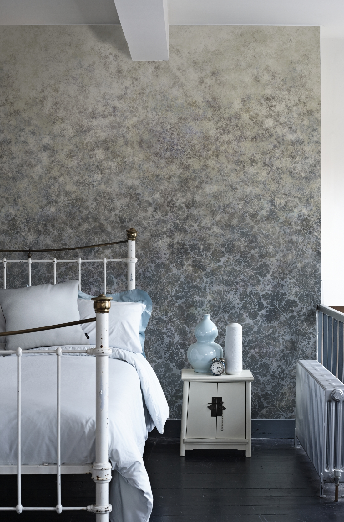VACranford Damask Petrol Blue Wallpaper Mural from the V&A Collection at Surface View Wallpaper Murals