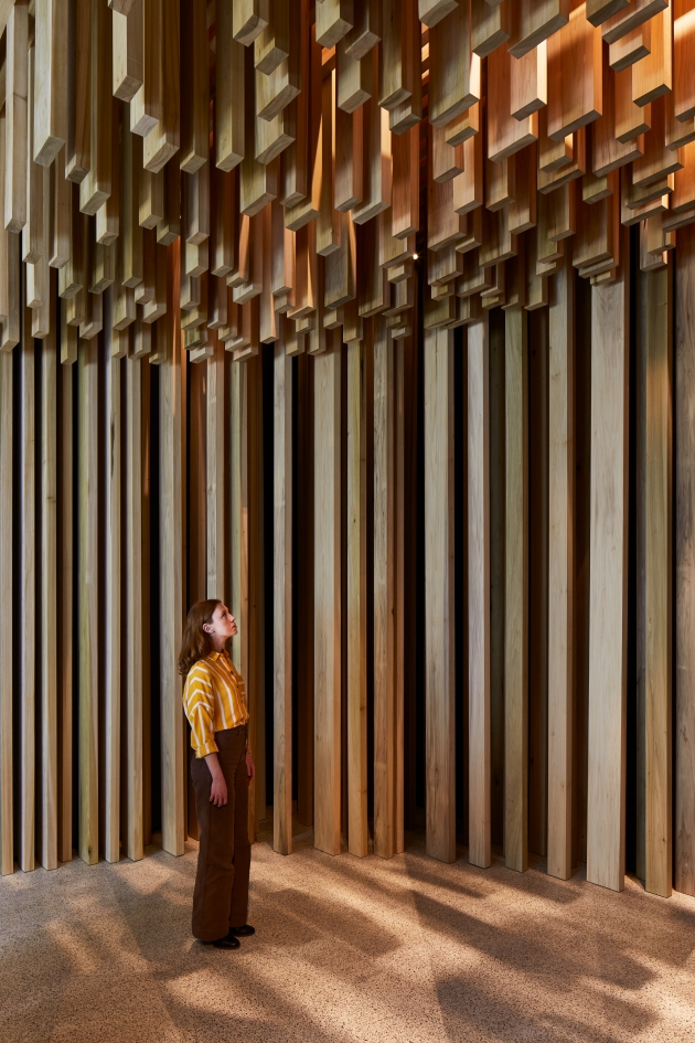 The Sclera segment in its entirety at the Design Museum as part of the David Adjaye: Making Memory exhibition. Images courtesy of American Hardwood Export Council and Sir David Adjaye. Photography by Ed Reeve.