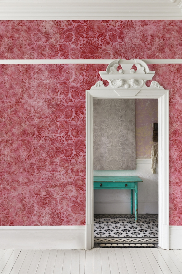 Lydiard Damask Cinnabar Red Wallpaper Mural from the V&A Collection at Surface View Wallpaper Murals