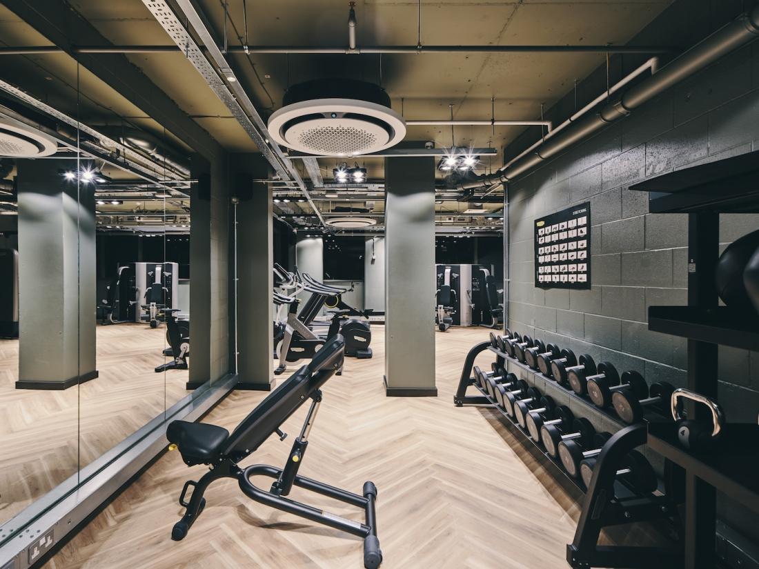 Symons House, Leeds - Lower-ground floor gym. Photography by Gu Shi Yin