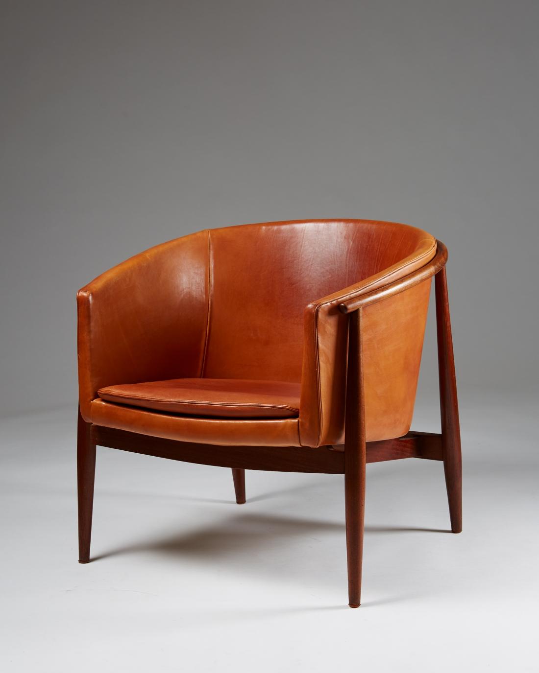 Easy chair model 93 designed by Brockmann Petersen for Poul M. Jessen, Denmark. 1959. Courtesy of Modernity Gallery