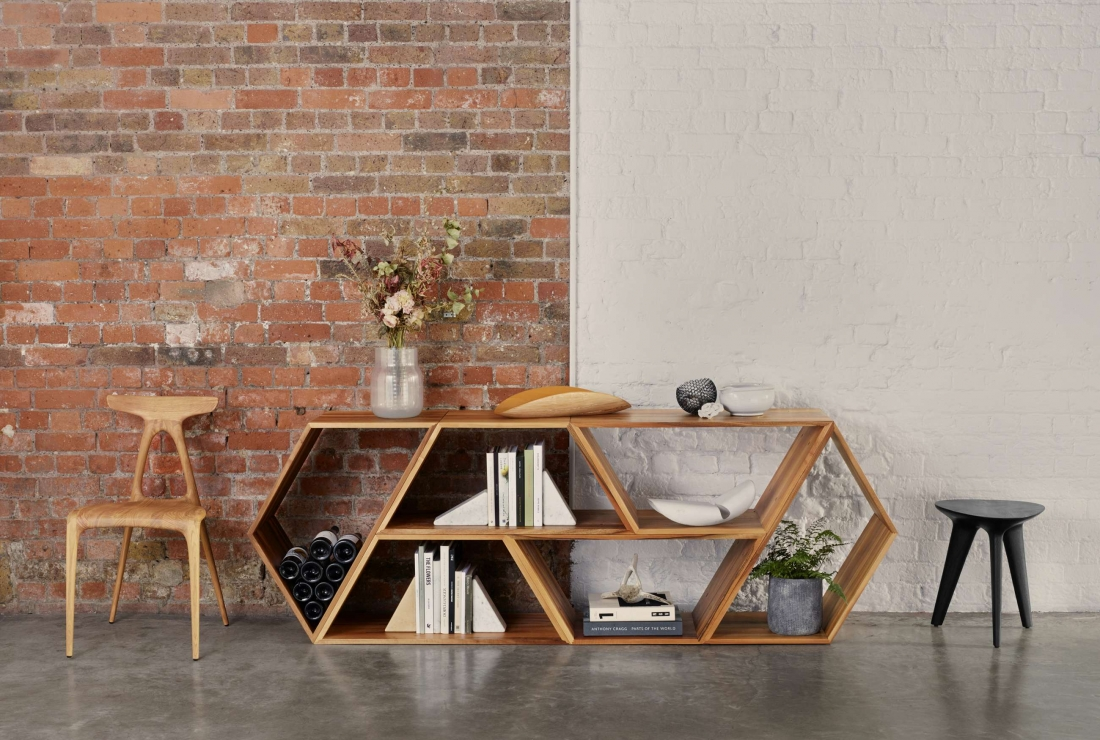 Alpha Chair, Tetra Shelving System and Rotor Stool - Made in Ratio