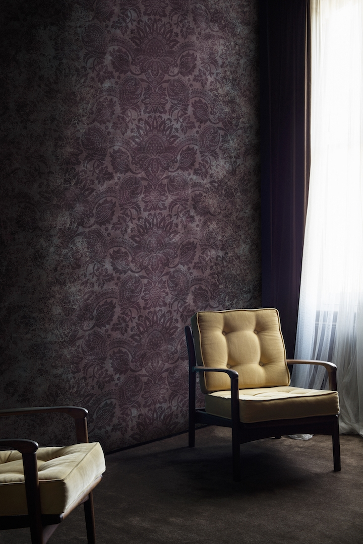 Lydiard Damask Tyrian Purple Wallpaper Mural from the V&A Collection at Surface View Wallpaper Mural