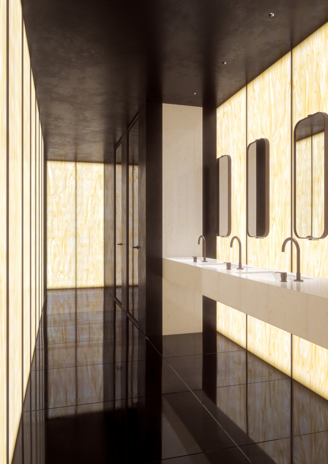 Corian® Solid Surface Golden Onyx Bathroom